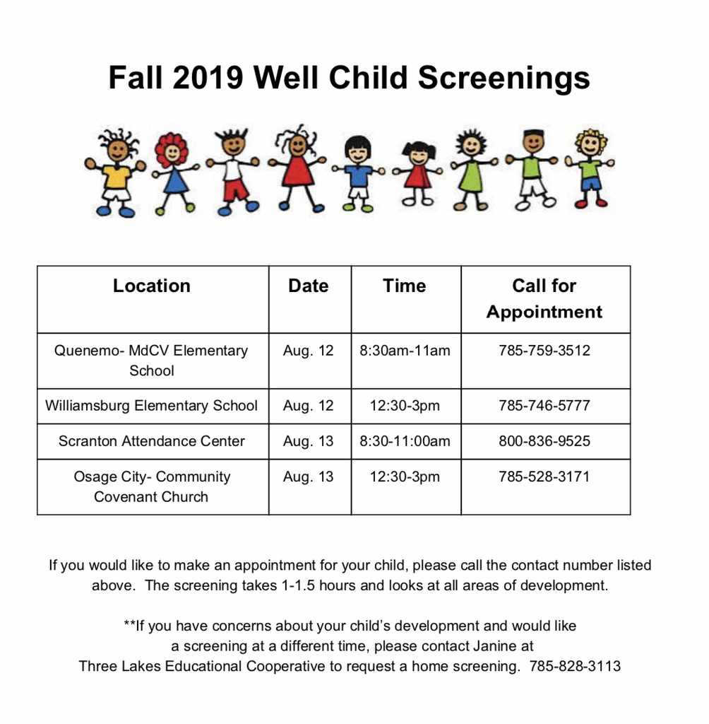 Well Child Screening Schedule