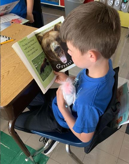 Second grader reading